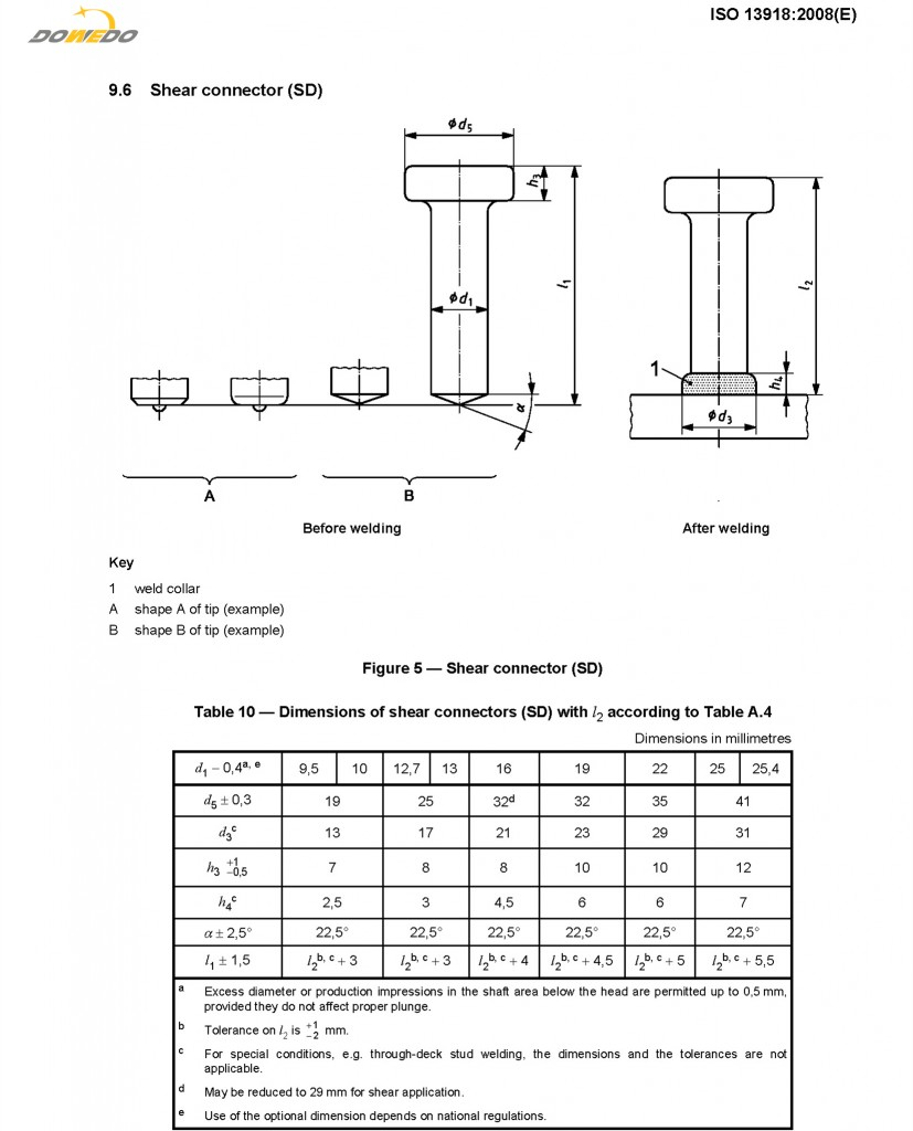 Shear Connector Shear Stud Bolt Dimension